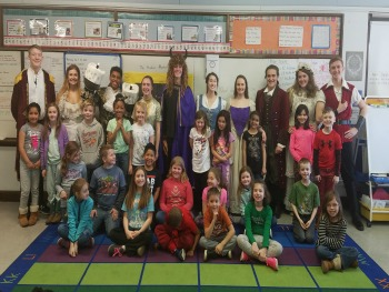 2nd grade class standing with cast of FDSH Beauty and the Beast