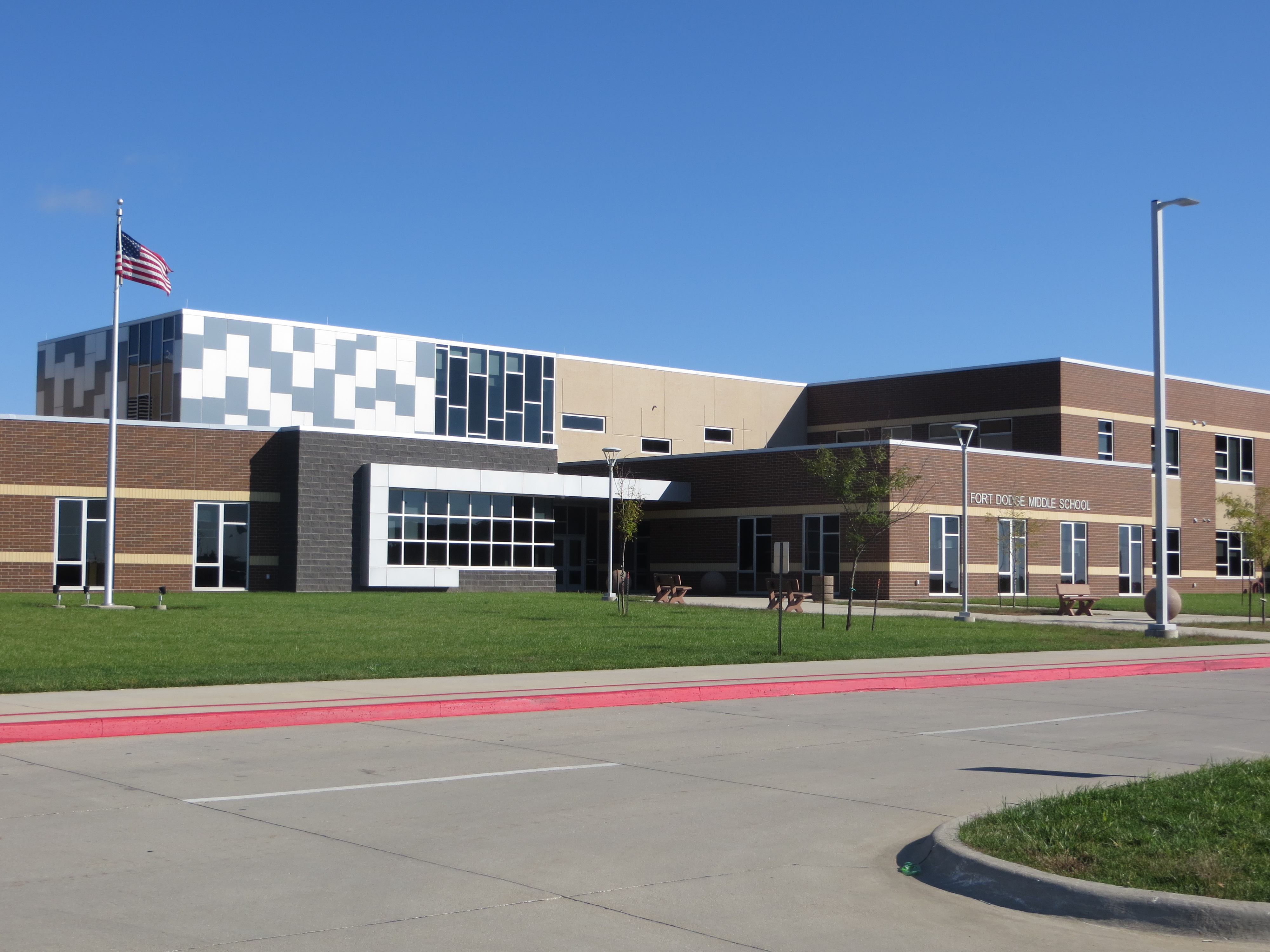 exterior of middle school main entrance