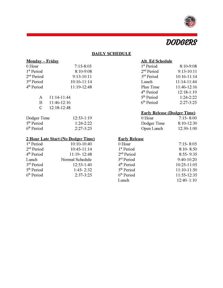 daily schedules fort dodge community school district