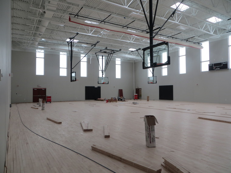 Progress continues inside the new auxiliary gym